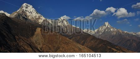 Annapurna South Hiun Chuli and Machapuchare. High mountains of the Annapurna range Nepal. View from Muldhai hill.