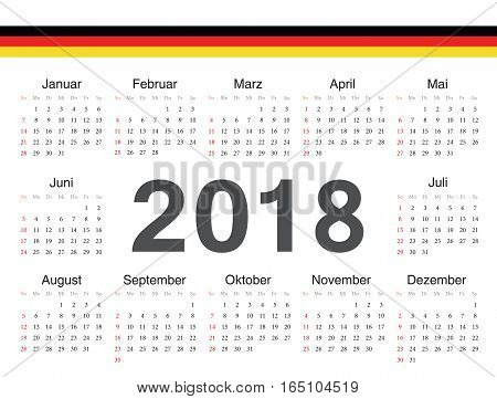Vector German Circle Calendar 2018