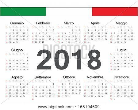 Vector Italian Circle Calendar 2018