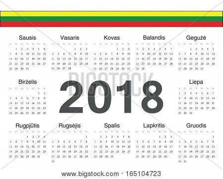 Vector Lithuanian Circle Calendar 2018