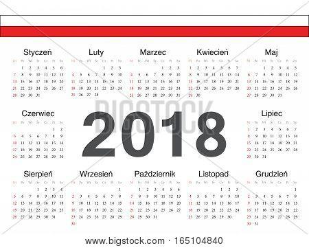 Vector Polish Circle Calendar 2018