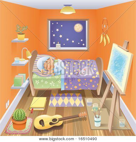 Junge schläft in seinem Schlafzimmer. Lustige Cartoons und Vektor-Szene, freigestellte Objekte