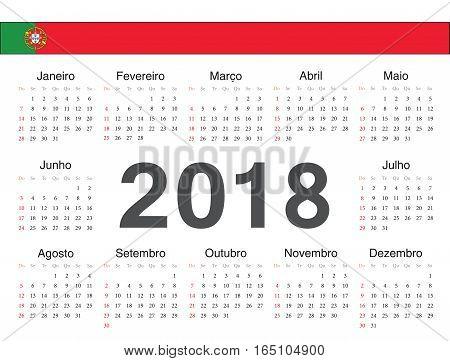 Vector Portuguese Circle Calendar 2018