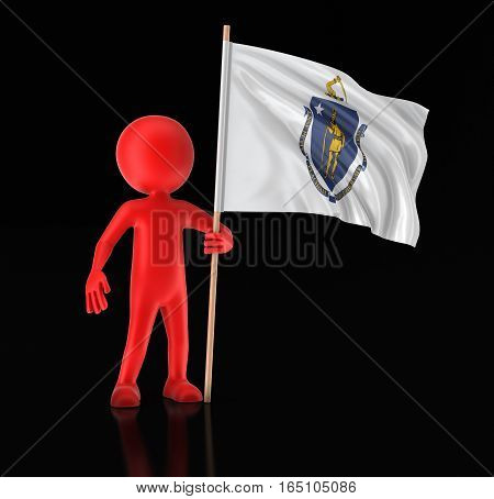 3D Illustartion. Man and flag of the US state of Massachusetts. Image with clipping path