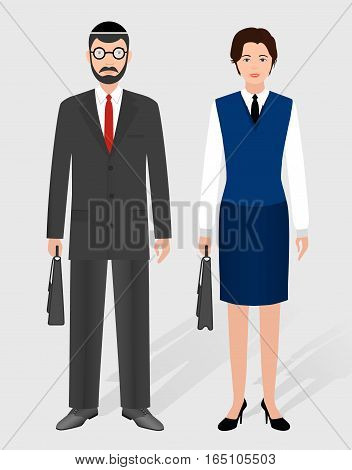 Business people concept. Couple of jewish businessman and businesswoman standing together. Office employee team and teamwork. Flat style vector illustration.