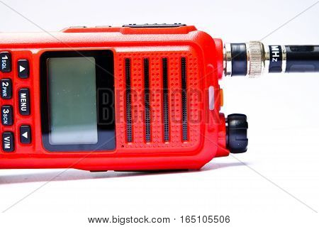 Red radio communication on a white background
