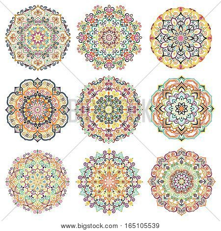 Mandala Vector Design Elements. Round ornament decoration. Colorful patterns. Floral motif. Stylized flower. Chakra symbol for meditation yoga logo. Complex flourish weave medallion. Tattoo print