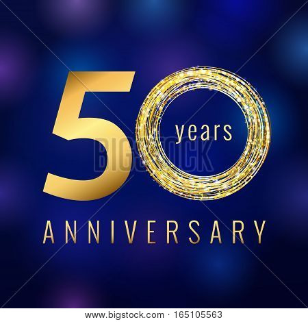 Anniversary 50 year number gold colored vector logo. Fifty years colorful greeting card. Holiday shining icon. Blue background. Business, fashion, musics, arts lighting sign. Celebration event symbol.