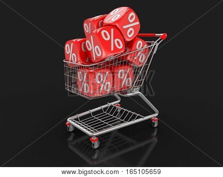 3D Illustration. Shopping Cart and Dice with percent sign. Image with clipping path