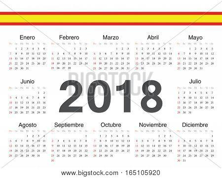Vector Spanish Circle Calendar 2018