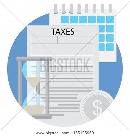 Time to pay taxes flat icon. Income tax and paying taxes due evasion vector illustration