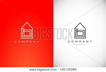 Real estate house red line lineart monoline black red vector logo icon sign design template