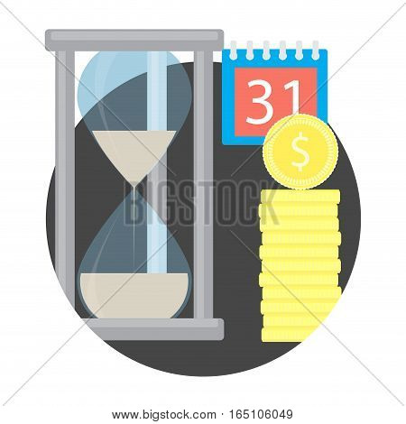 Time money icon. Budget stack and sand clock. deposit capitalization vector illustration