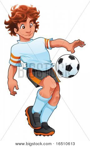 Soccer Player. Cartoon and vector sport character, isolated objects