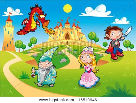 Medieval Age - Princess, Prince, Dragon, Magician. Funny cartoon illustration with background, isolated objects