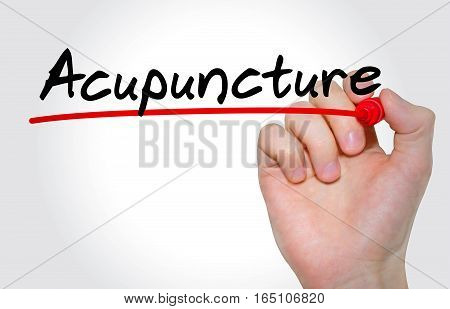 Hand Writing Inscription Acupuncture With Marker, Concept