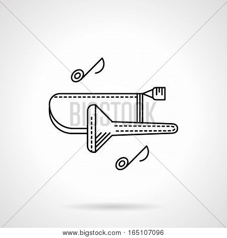 Symbol of trombone and two notes. Tenor, alto melodies and tunes. Classic brass musical instruments theme. Flat black line vector icon.