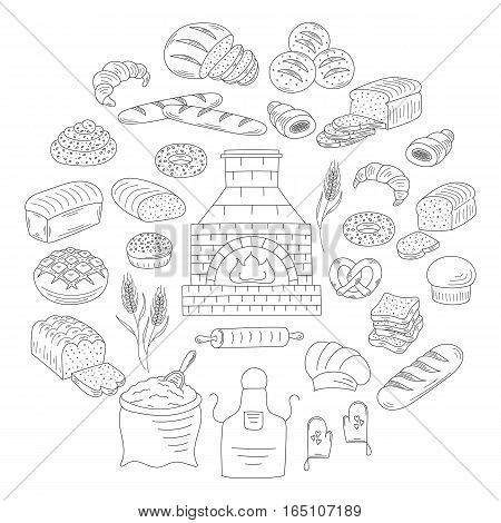 Bakery and pastry collection with various sorts of bread, croissant, pretzel, french baguette, rolls, bagels, old brick oven, flour and wheat. Hand drawn doodle vector illustrations isolated on white.
