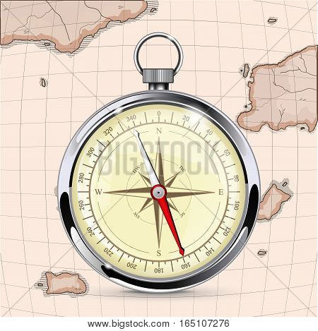 Compass on old map background. Vector illustration
