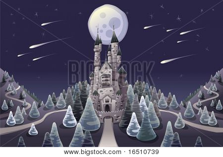 Panorama with medieval castle in the night. Cartoon and vector illustration