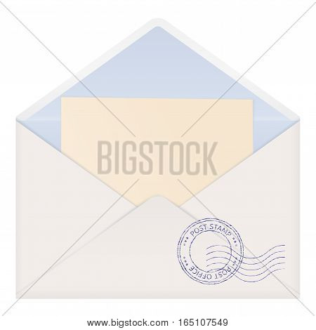 Open envelope with letter. Vector illustration isolated on white background