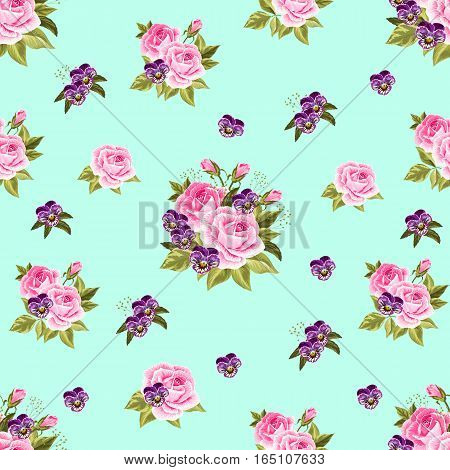 Seamless floral pattern with pink roses and violet pansies on turquoise background.