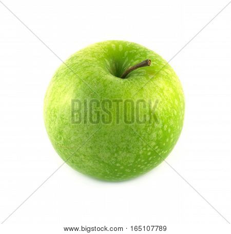 Big ripe green apple isolated on white studio shot closeup