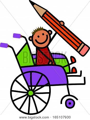 A cartoon childlike drawing of a happy disabled boy sitting in a wheelchair and holding a giant pencil.