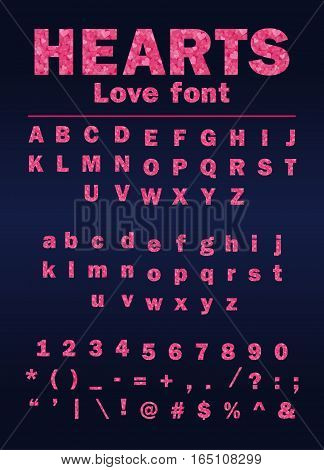 valentine day love font from hearts with letters and numbers, vector illustration