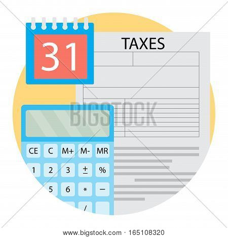 Taxation Day icon vector. Report finance accounting illustration