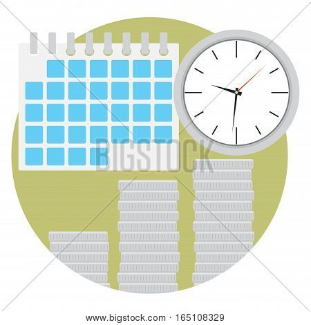 Time is money. Stack of coins and clock with calendar. Vector illustration