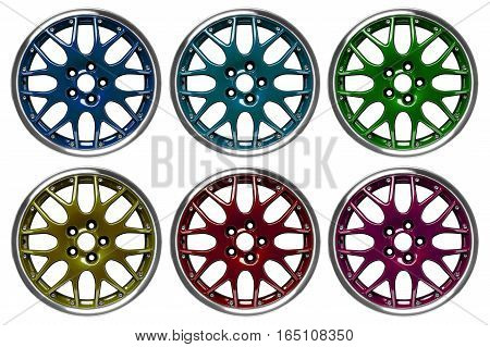 Colorful alloy rims floating in the air at white background poster