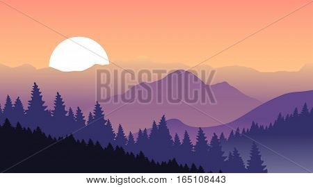 Beautiful sunset at the mountains. Vector illustration