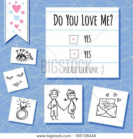 Valentines day funny questionnaire, card, notebook doodles elements, girl, boy, love letter, hearts, ring, eyes, eyelashes, scribble, sketch style. Hand drawn vector illustration.