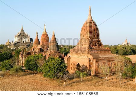 The temples of Thatbyinnyu and Ananda at the archaeological site of Bagan on Myanmar