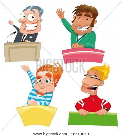 Set of different characters: Politician, teacher, student, presenter, etc... Funny cartoon and vector isolated characters.