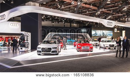 DETROIT MI/USA - JANUARY 10 2017: Audi marque exhibit at the North American International Auto Show (NAIAS).