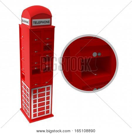 Model phone booth for charging gadgets. Styling in the style of an English phone booth.