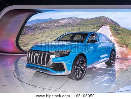 DETROIT MI/USA - JANUARY 12 2017: An Audi e-tron Q8 Concept crossover at the North American International Auto Show (NAIAS).
