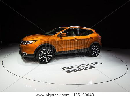 DETROIT MI/USA - JANUARY 12 2017: A 2017 Nissan Rogue Sport (Qashqai) SUV at the North American International Auto Show (NAIAS).