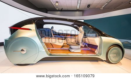 DETROIT MI/USA - JANUARY 12 2017: Yanfeng XiM17 Autonomous Concept car Interior at the North American International Auto Show (NAIAS).
