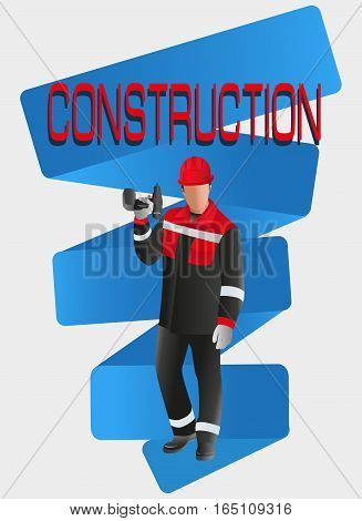 Builder worker. CONSTRUCTION. Vector image. Poster design, leaflets with the building professions for advertising, announcements, instructions, or presentation.worker.