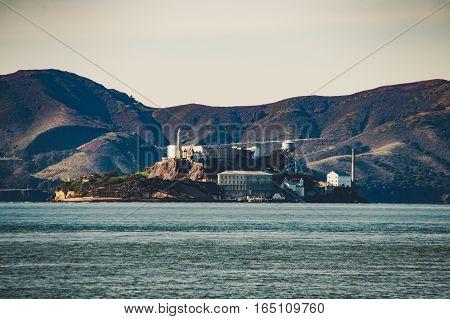 Island Of Alcatraz Close To San Francisco In Usa