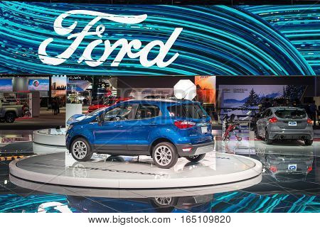 DETROIT MI/USA - JANUARY 10 2017: A 2018 Ford EcoSport SUV car at the North American International Auto Show (NAIAS).
