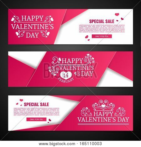 Set template design Happy valentine's day horizontal banner. Flyer with pink color tape and special valentine's sale text. Romantic horizontal banner  with heart and swirl decoration.  Vector.