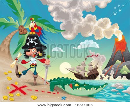 Pirate on the island. Funny cartoon and vector scene.