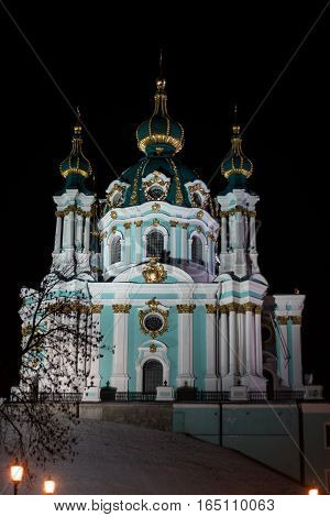 St. Andrew's Cathedral at night kyiv outdoors