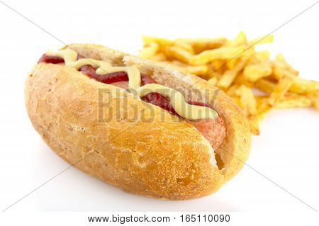 Hot Dog With French Fries Isolated On White