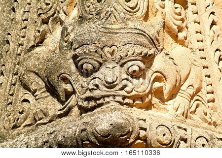Bas-relief on Sulamani temple at the archaeological site of Bagan on Myanmar