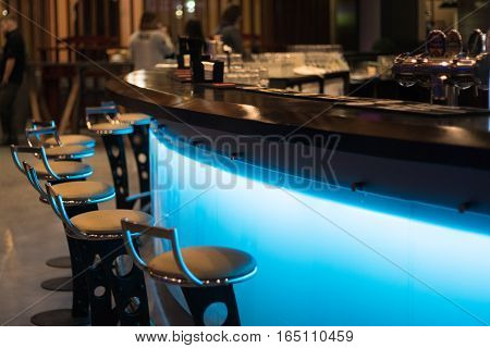 cool The bar counter in the cafe